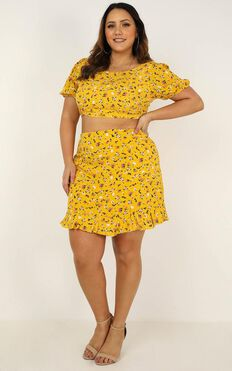Summer Girl Two Piece Set In Mustard Floral