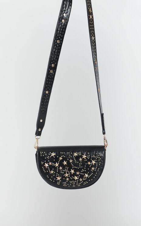 Golden Edge Studded Sling Bag In Black And Gold