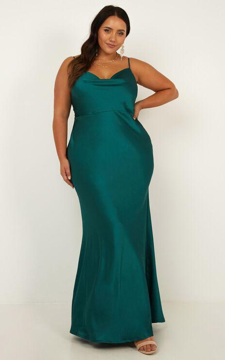 Run Deep Dress in emerald satin