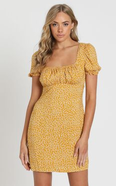 Local Celebrity Dress In Mustard Floral