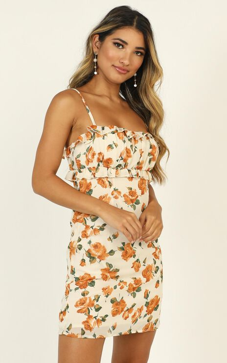 Lifes Not Simple Dress in Cream Floral