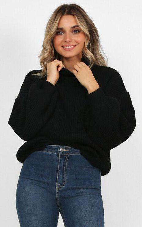 I Feel Love Oversized Knit Jumper in Black