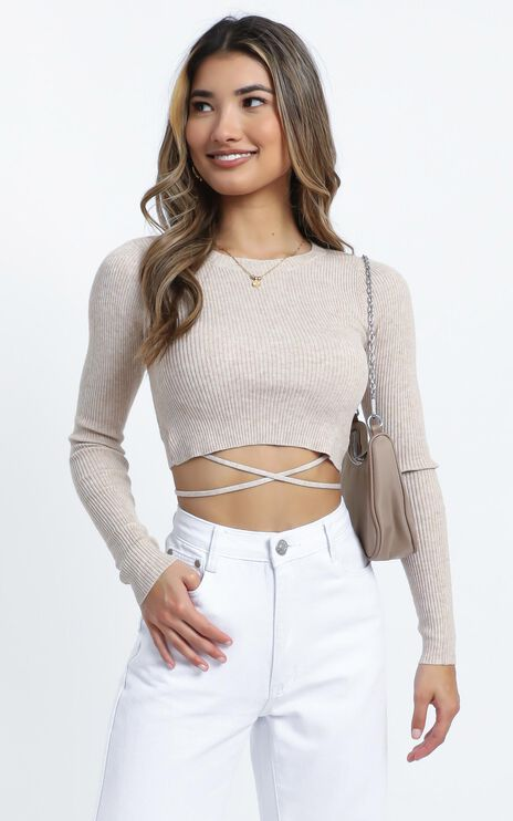 Drystan Knit Top in Beige
