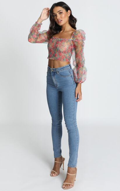 Like A Record Top in pink floral - 12 (L), Pink, hi-res image number null
