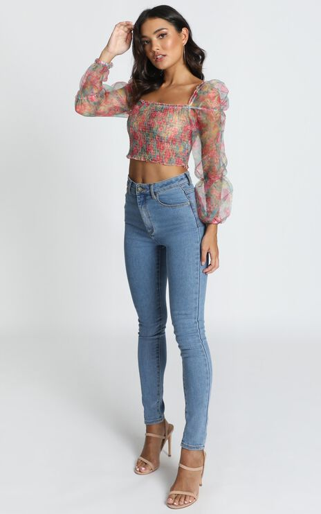 Like A Record Top In Pink Floral