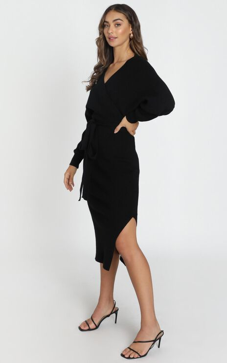 Over The World Knit Dress In Black