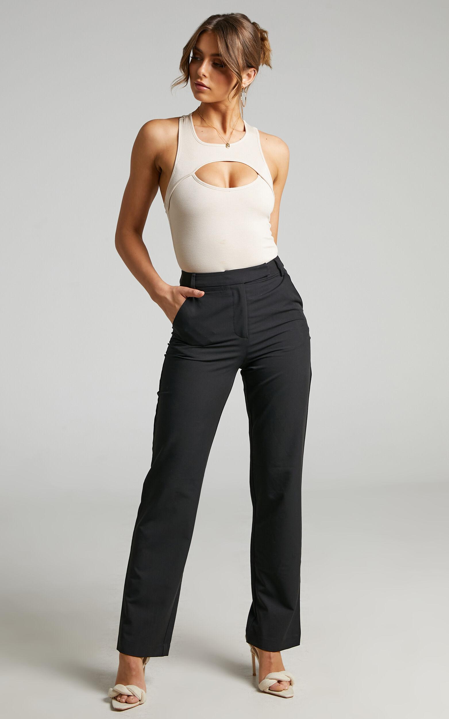 Ernez Tailored Straight Pants in Black - 04, BLK1, super-hi-res image number null