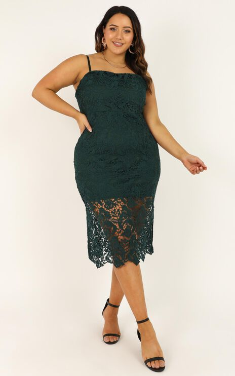 Walk The Other Way Dress In Emerald Lace