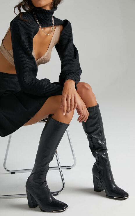 Public Desire - Caryn Boots in Black PU