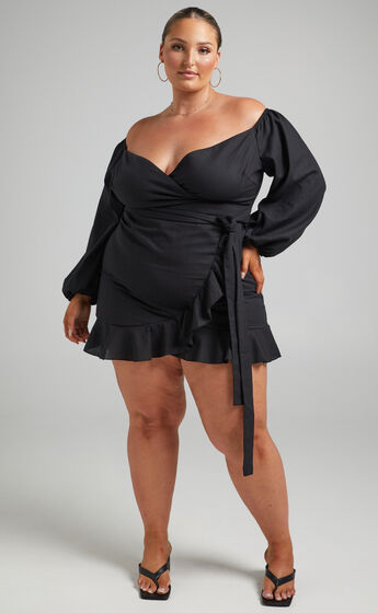 Cant Move On Off Shoulder Mini Dress in Black Linen Look