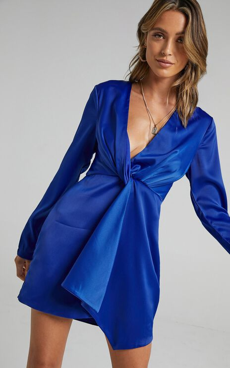 Stop Thinking About It Dress In Cobalt Satin