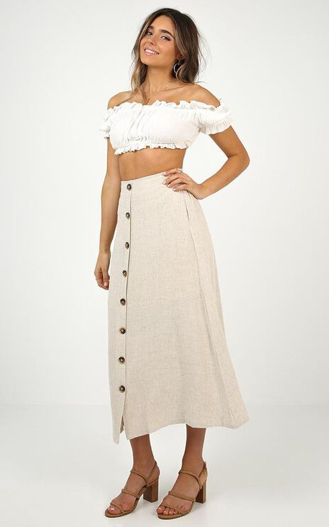 Stay Young Skirt In Beige Linen Look