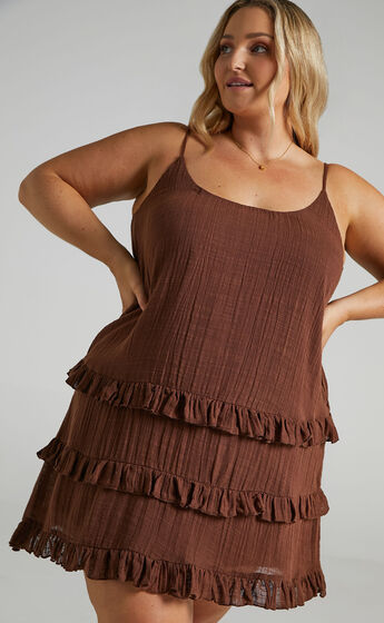 Long Reflections Dress in Chocolate