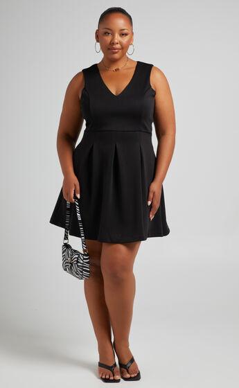 Jossy Mini V Neckline Dress with Flared Skirt in Black