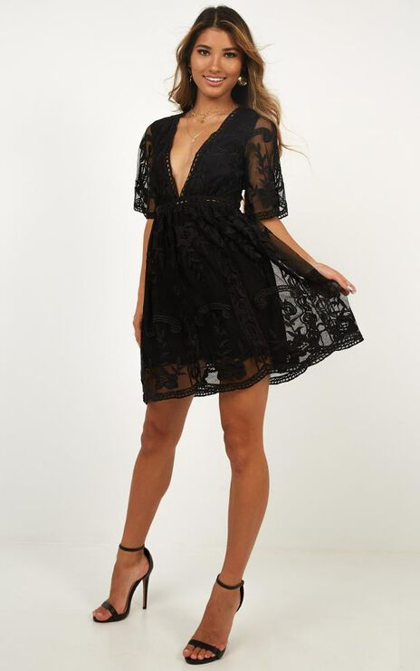 Rolling The Deep Dress In Black Lace