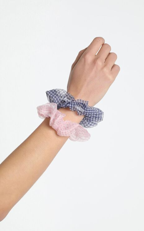 Perfect Combo Organza Scrunchie 2 Pack in pink and navy gingham