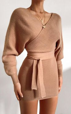 Dont Fall Down Knit Dress in Camel
