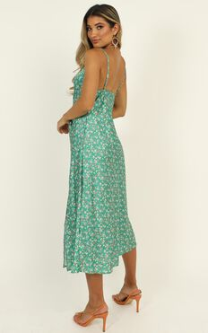 Straight Lines Dress In Green Floral