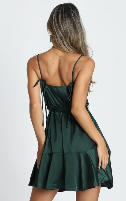 Like You Never Know Dress in emerald satin - 20 (XXXXL), Green, hi-res image number null