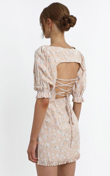 Scarlette Dress in Beige Floral