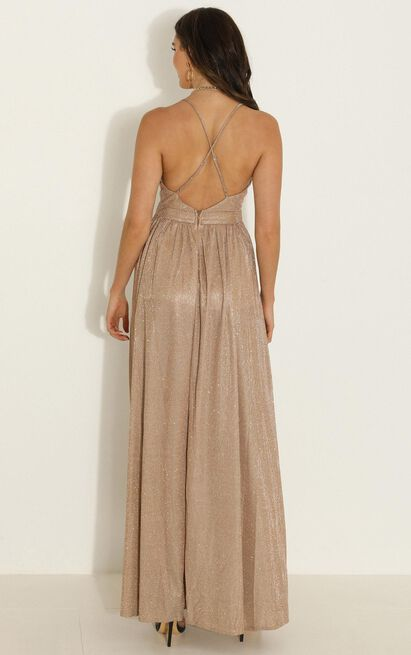Breathe Again maxi dress in gold - 12 (L), Gold, hi-res image number null