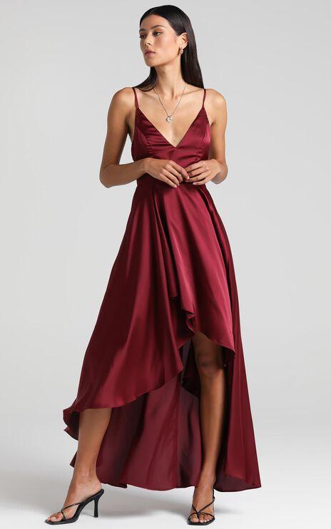 Light The Way Dress In Wine Satin