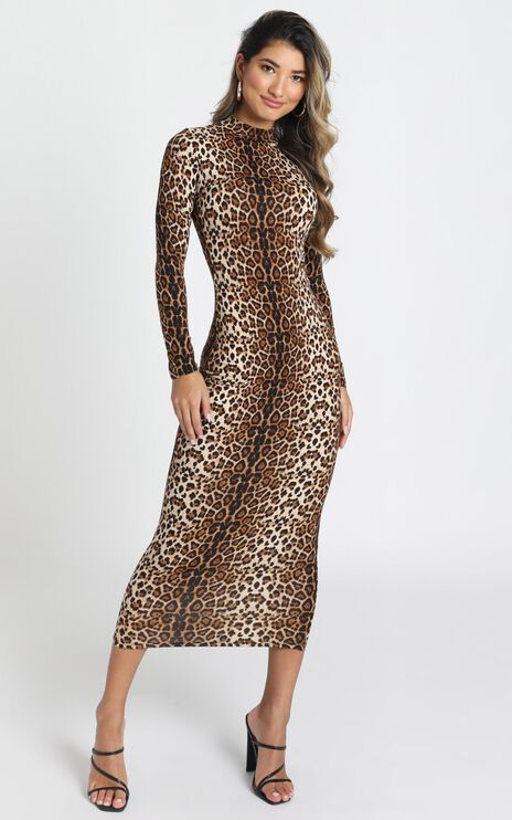 Wild Thing Bodycon Midi Dress In Leopard Print