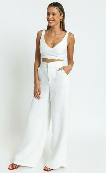 Adelaide Two Piece Wide Leg Set in White