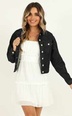 One For The Girls Denim Jacket In Washed Black