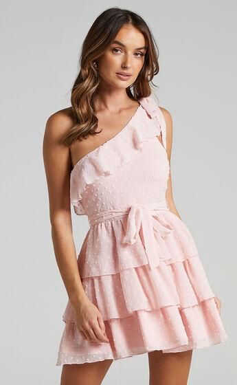 Darling I Am A Daydream One Shoulder Ruffle Mini Dress in Blush