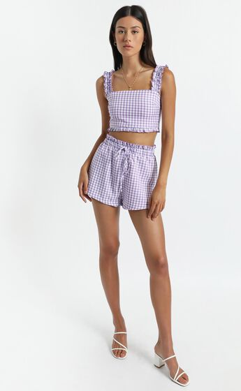 Trya Two Piece Set in Purple Check