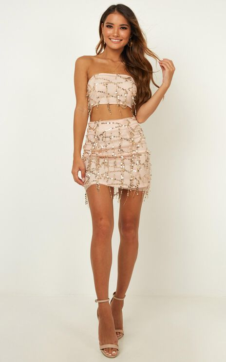 Electric Body Two Piece Set In Gold Sequins