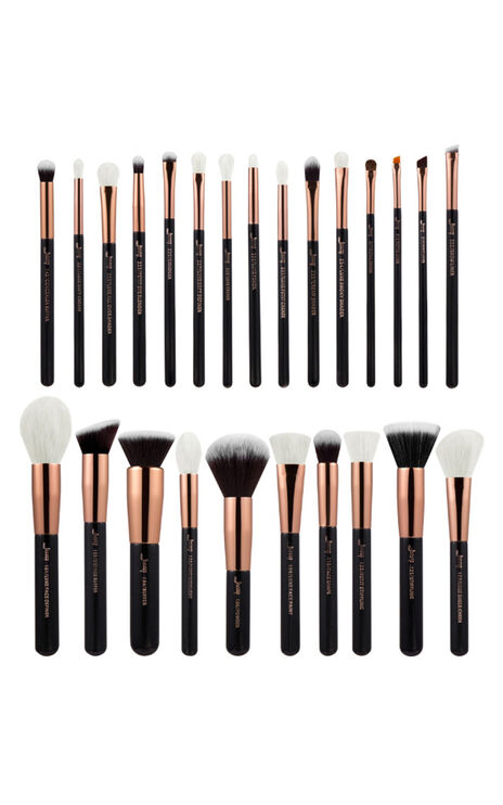 Makeup Brush Set in black and rose gold 10 pc