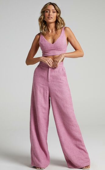 Adelaide Two Piece Wide Leg Set in Pink