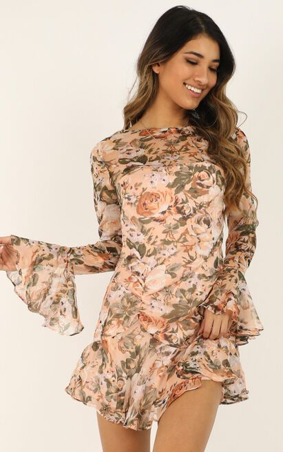 When I Wake Up dress in peach floral - 12 (L), Pink, hi-res image number null
