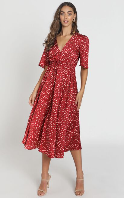 My Potential Dress in red satin spot - 6 (XS), Red, hi-res image number null