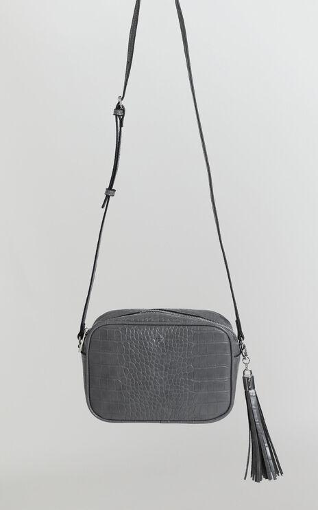 Peta And Jain - Gracie Shoulder Bag In Grey Croc