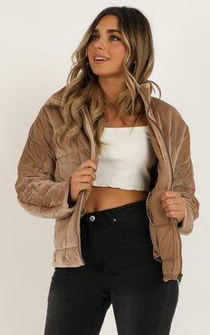 Prove It Puffer Jacket In Tan