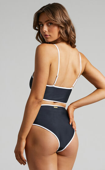 Dominica One Piece Swimsuit with Cut Outs in Black and White