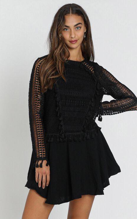 Bodhi Crochet Detail Dress in Black
