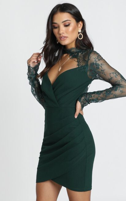 Julianna Dress in emerald lace - 12 (L), Green, hi-res image number null