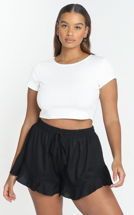 Beach Vibes Shorts in Black Linen Look