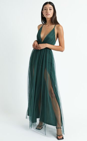 Like A Vision Plunge Maxi Dress in Emerald Tulle