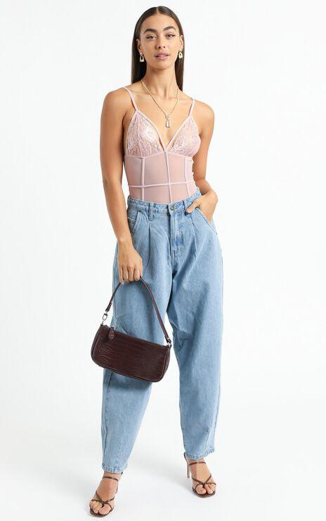 Alvia Strappy Bodysuit in Blush Lace