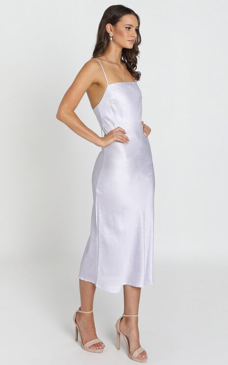 Regina Satin Slip Dress In Lilac Micro Floral