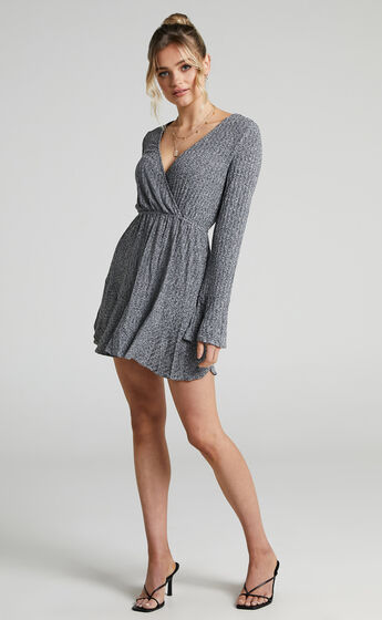 The Next Step Dress in Charcoal Marle