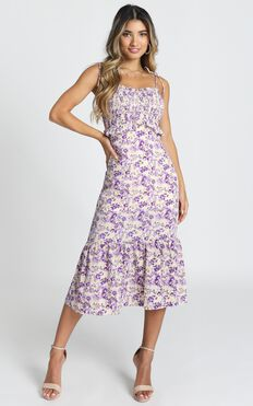 Merrill Shirred Midi Dress In Purple Floral