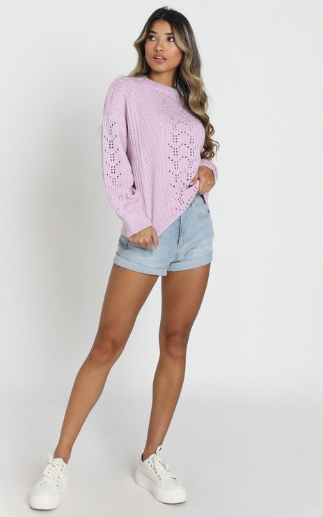 Cabin In The Woods Knit Jumper In Lilac