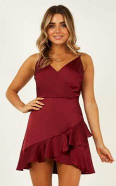 Cloud Cover Dress In Wine Satin