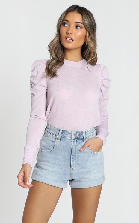 Snuggle Up knit Top In lilac